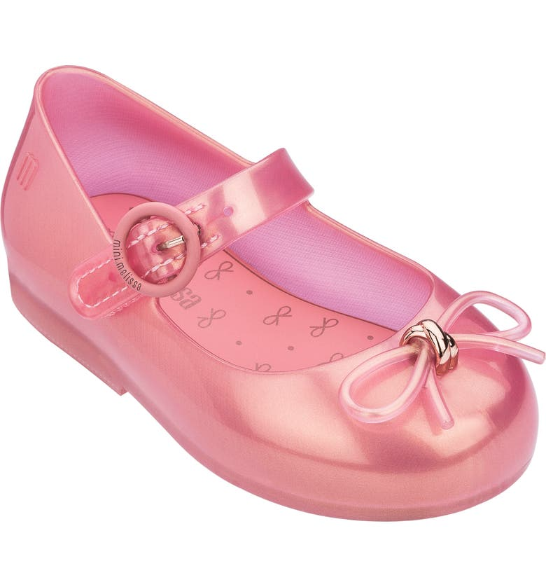 MINI MELISSA Sweet Mary Jane Flat, Main, color, PINK FLOWER PEARLY