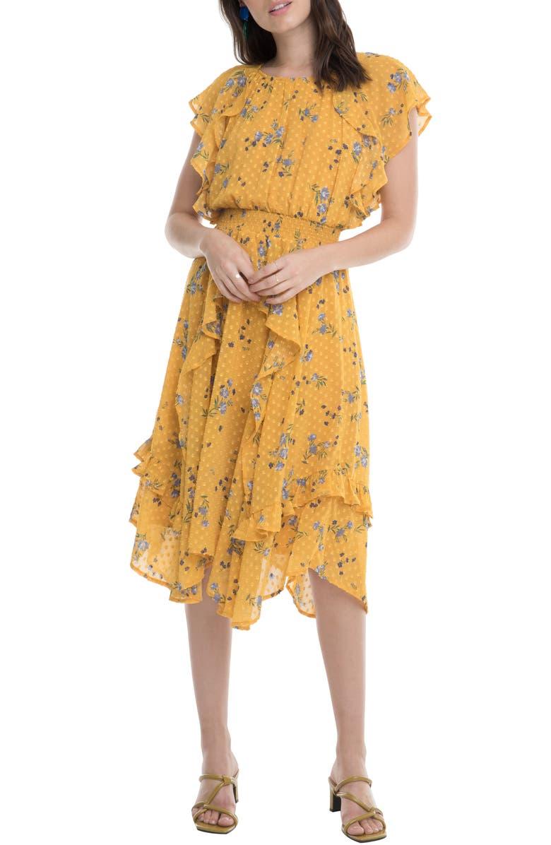 ASTR THE LABEL Sheila Clip Dot Floral Print Ruffle Dress, Main, color, MARIGOLD MULTI FLORAL