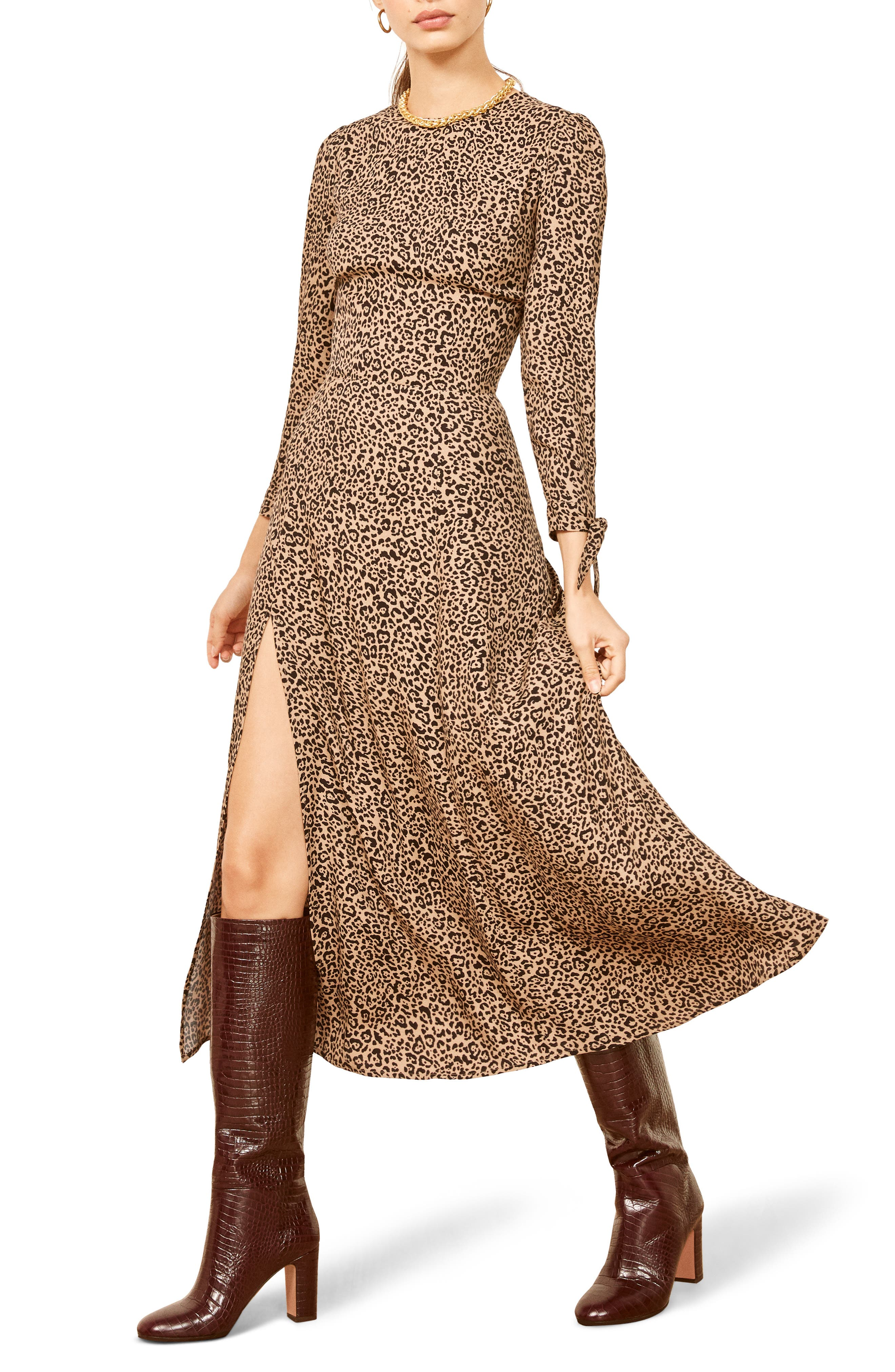 Reformation Zelda Slit Dress, Brown