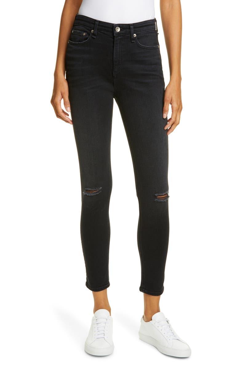 RAG & BONE Nina Ripped High Waist Ankle Skinny Jeans, Main, color, ROSWELL HL