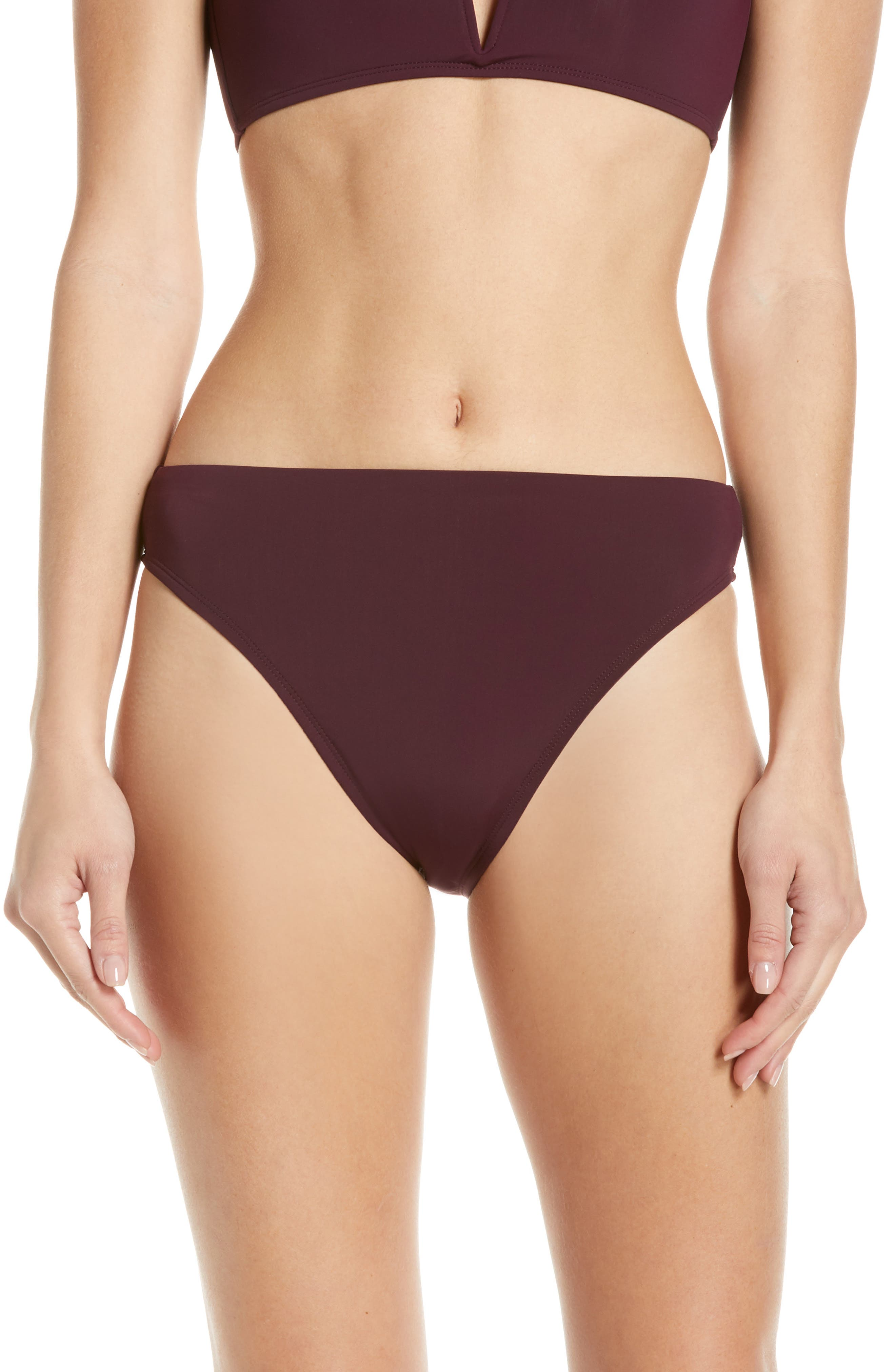 Beth Richards Heather High Waist Bikini Bottoms, Burgundy
