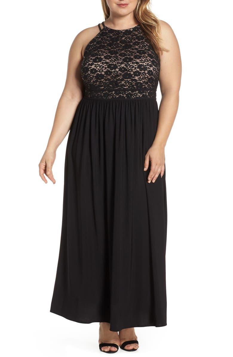 MORGAN & CO. Lace Bodice Evening Dress, Main, color, BLACK/ NUDE
