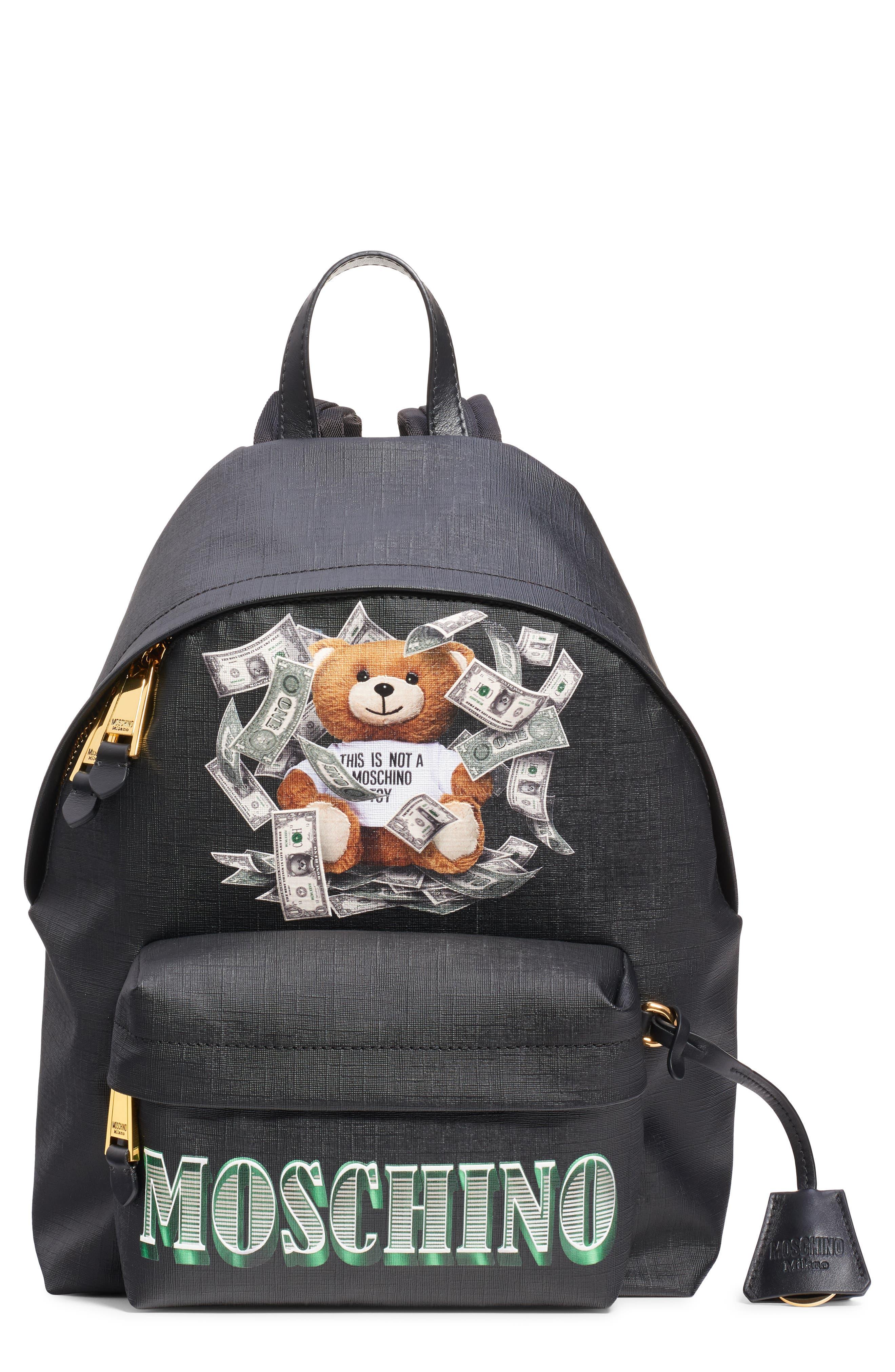 UPC 657536150909 product image for Moschino Money Teddy Backpack - Black | upcitemdb.com