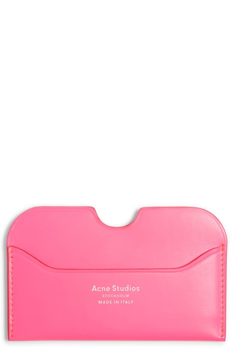 ACNE STUDIOS Elmas Fluorescent Card Case, Main, color, FLUO PINK