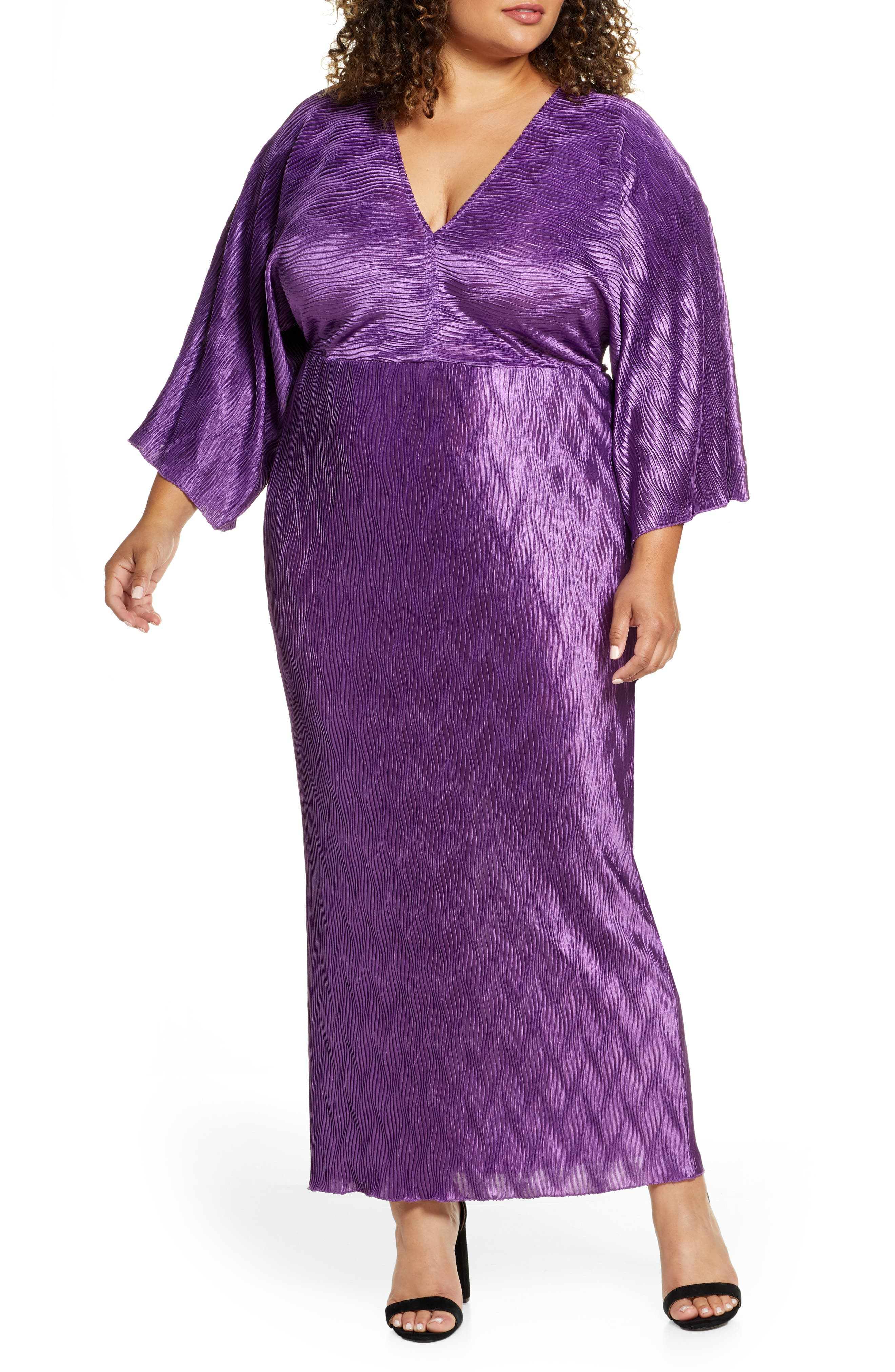 60s 70s Plus Size Dresses, Clothing, Costumes Plus Size Womens Eloquii Textured Long Sleeve Maxi Dress Size 14W - Purple $54.99 AT vintagedancer.com
