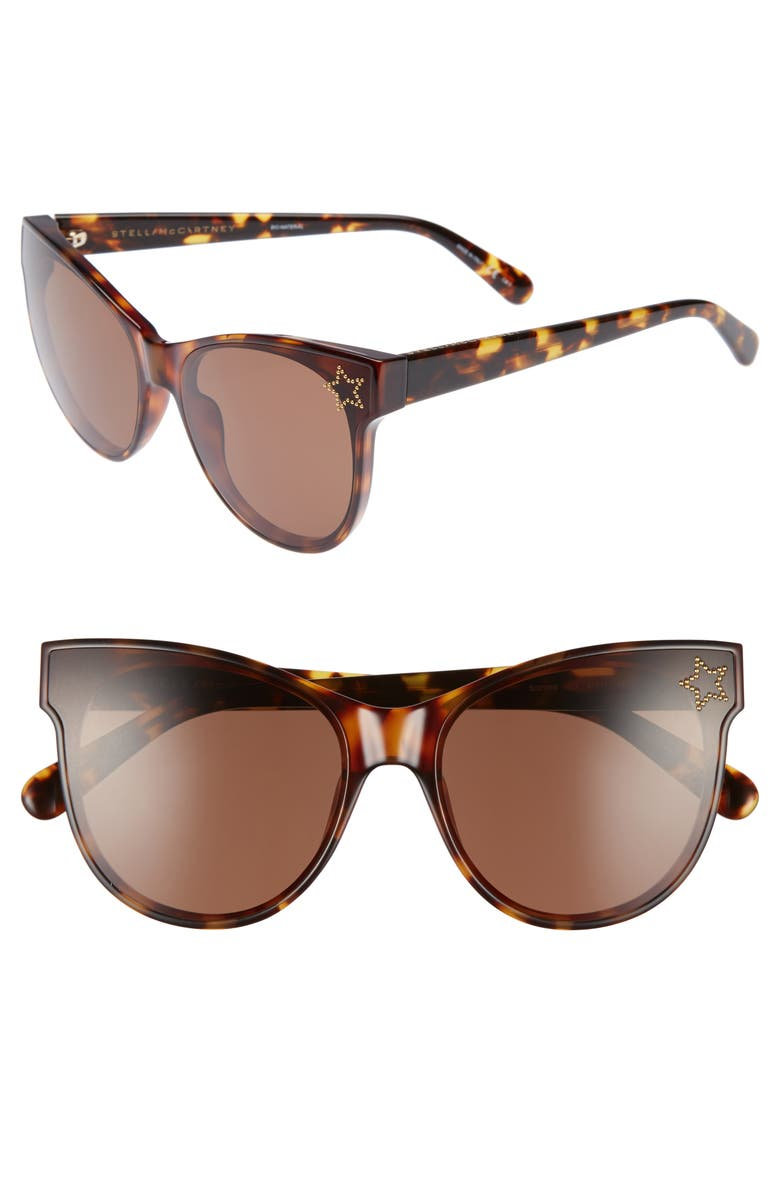 STELLA MCCARTNEY 61mm Cat Eye Sunglasses, Main, color, BLONDE AVANA