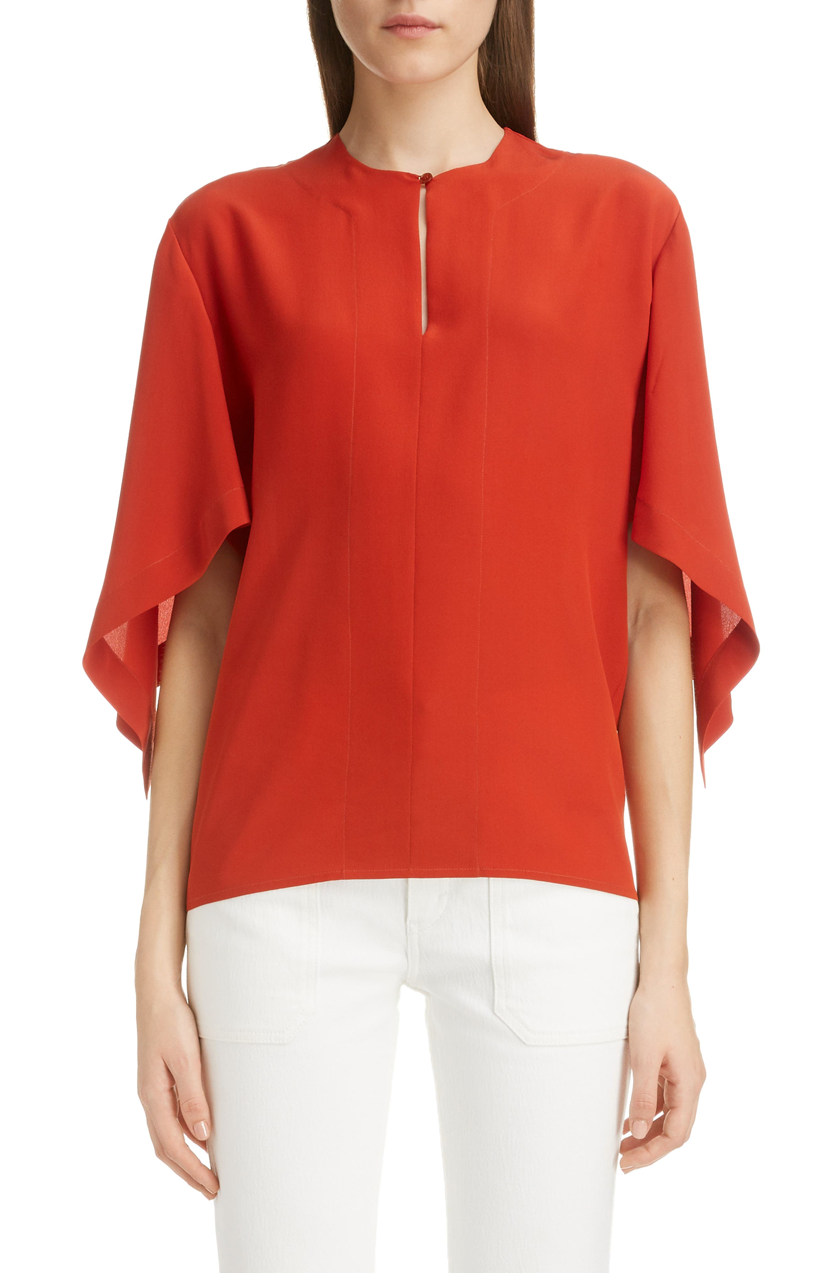 Split Neck Silk Blouse, Main, color, 843-ROOIBOS ORANGE