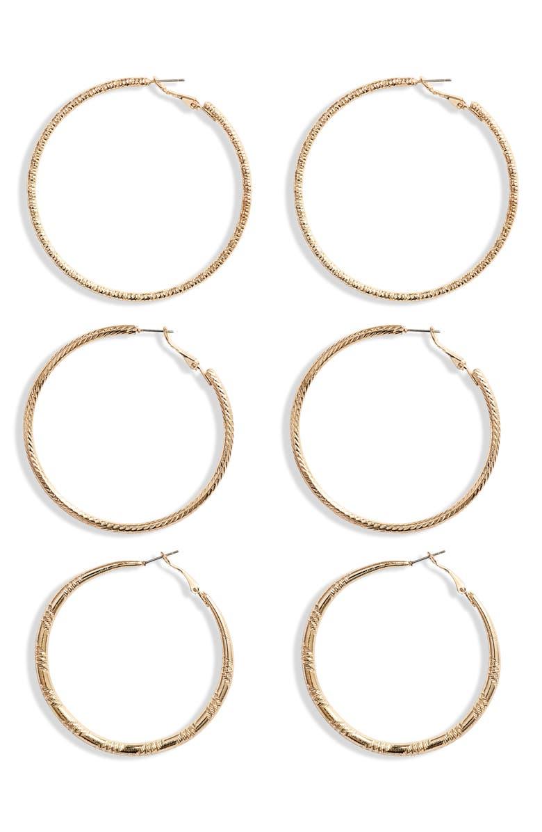 8 OTHER REASONS Arika 3-Pair Hoop Earring Set, Main, color, 710