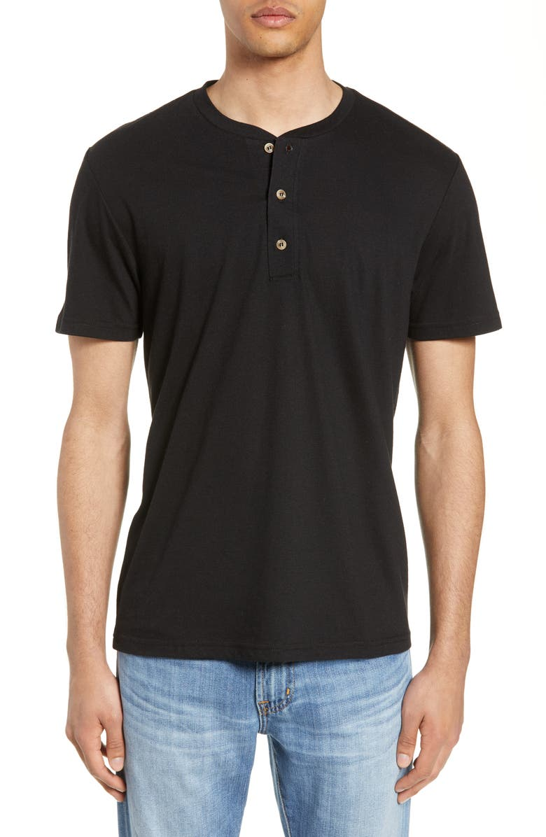 BP. Short Sleeve Henley, Main, color, BLACK ROCK HEATHER