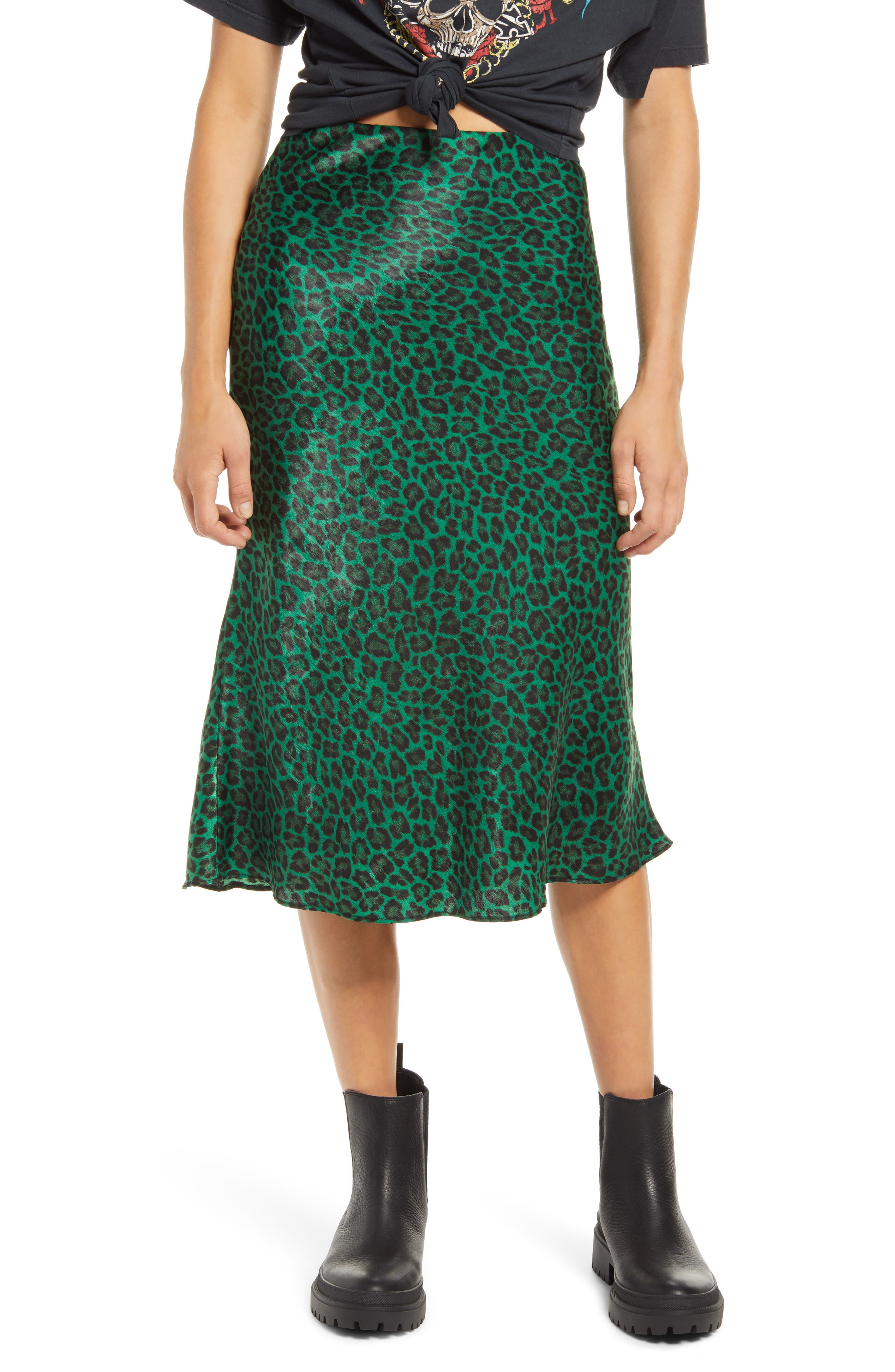 Leopard spots and a bold green hue elevate this figure-skimming midi skirt with a gently ruffled hem. Style Name: Socialite Bias Midi Skirt. Style Number: 6092065. Available in stores.