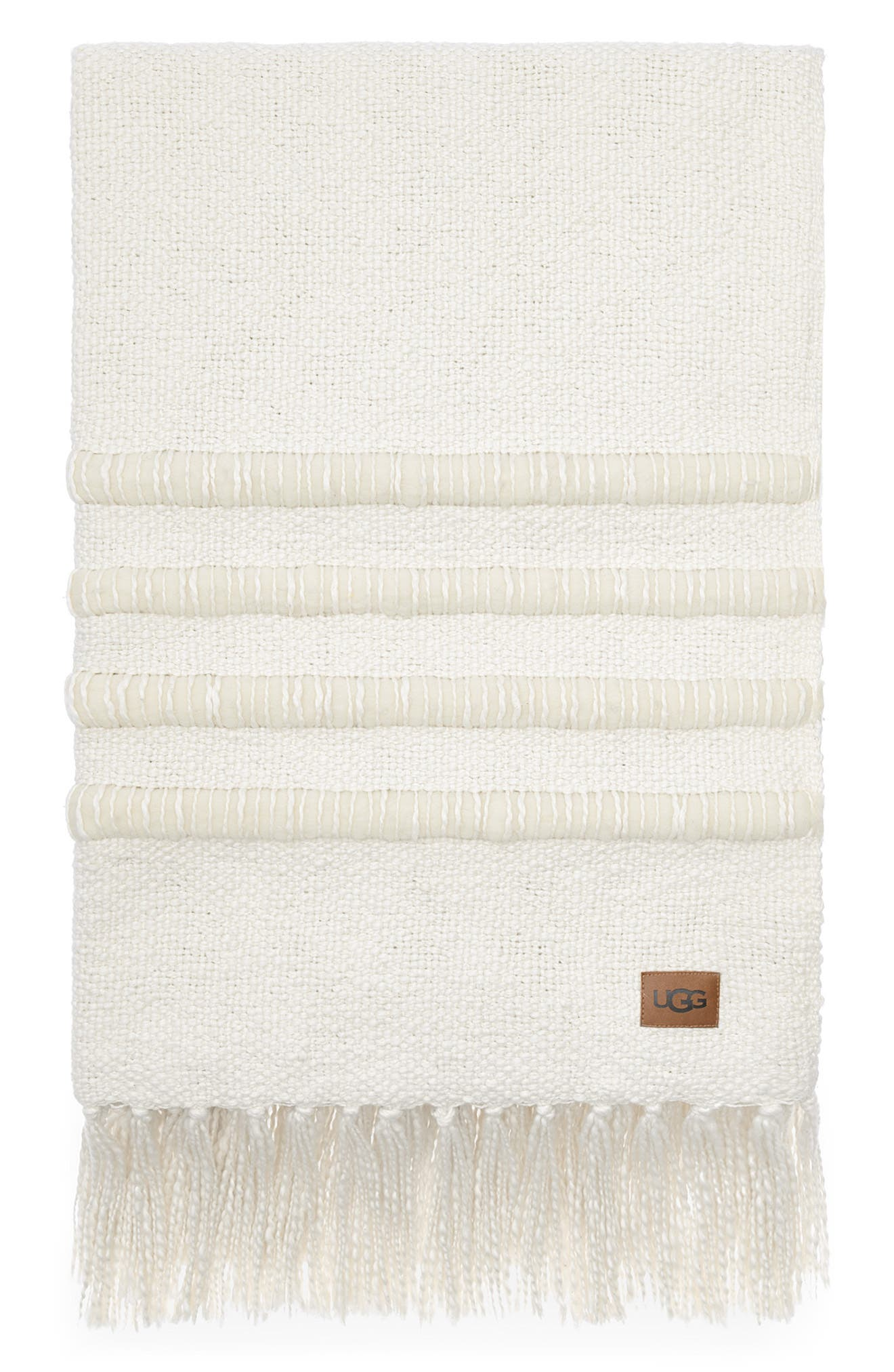 A luxurious cotton-and-wool throw finished with soft tassel trim brings plush comfort and warmth to any cozy couch session. Style Name: UGG Alicia Throw Blanket. Style Number: 6052090. Available in stores.