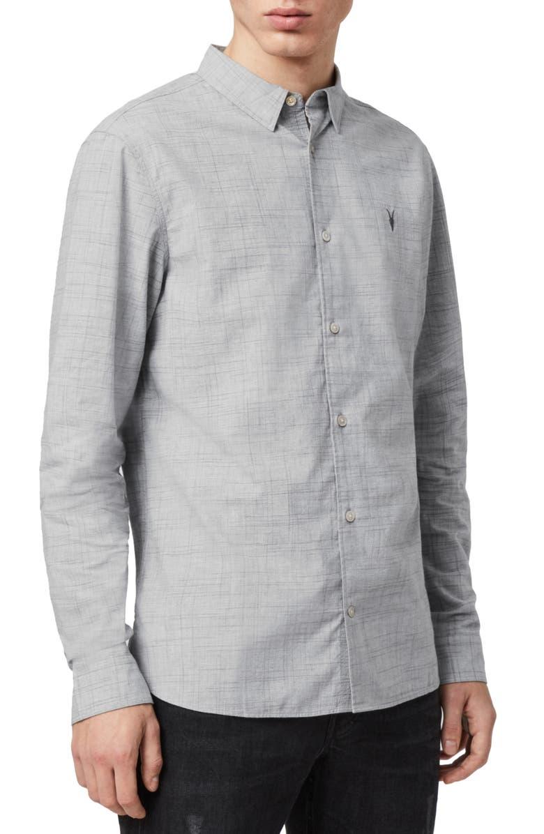 ALLSAINTS Norwood Slim Fit Button-Up Shirt, Main, color, GREY MARL