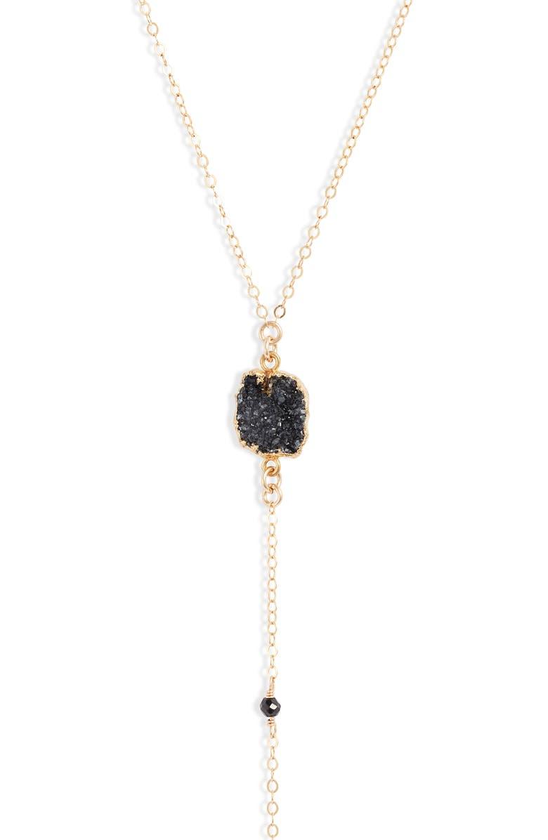SET & STONES Zoe Y-Necklace, Main, color, GOLD/ BLACK