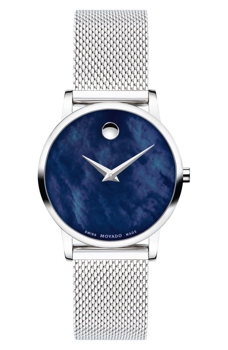MOVADO Museum Mesh Strap Watch, 28mm, Main, color, SILVER/ BLUE MOP/ SILVER