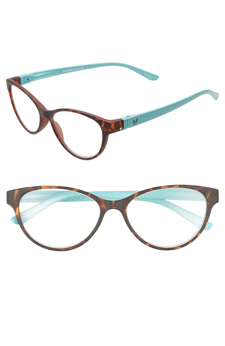 BUNNY EYEZ The Raquel 52mm Reading Glasses, Main, color, MATTE TORTOISE/ BABY BLUE
