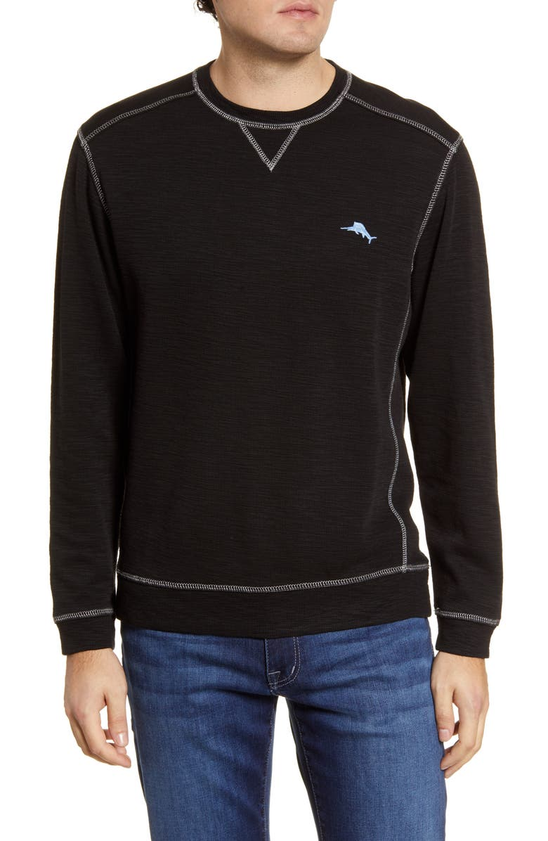 TOMMY BAHAMA Tobago Bay Crewneck Sweatshirt, Main, color, BLACK