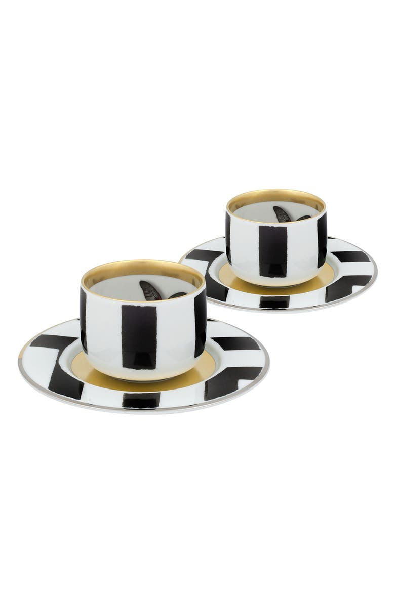 CHRISTIAN LACROIX Sol y Sombra Pair of Demitasse Cups & Saucers, Main, color, 001