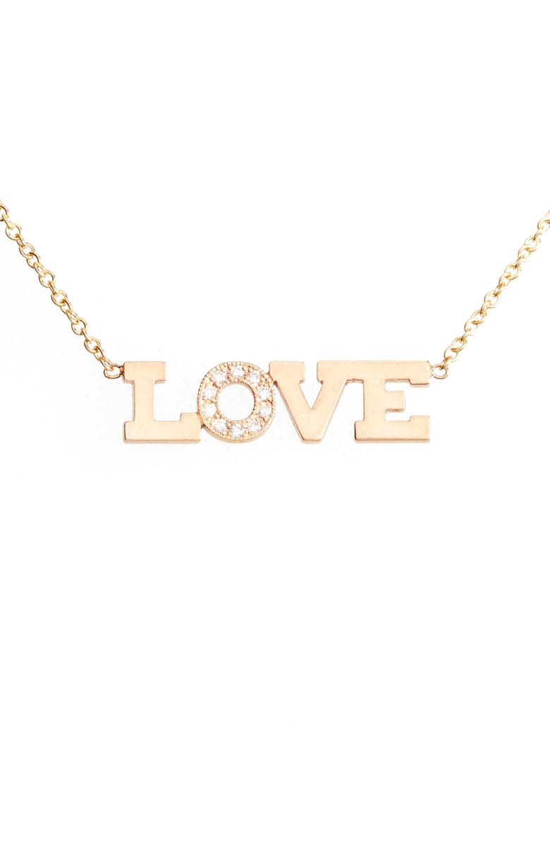 ZOË CHICCO Typographical Diamond Pendant, Main, color, YELLOW GOLD