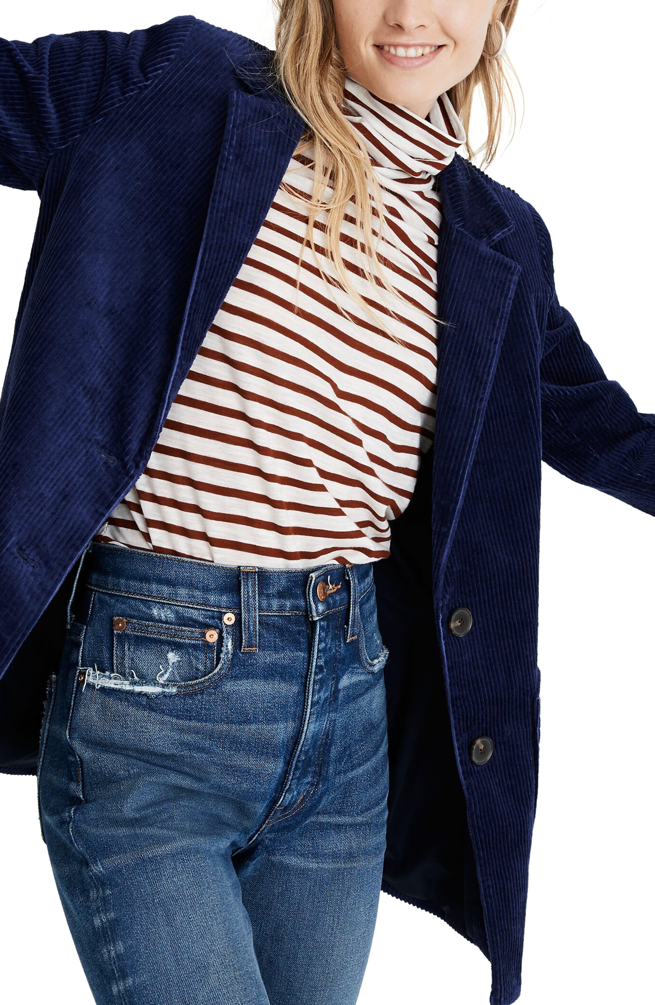 70s Jackets & Hippie Vests, Ponchos Womens Madewell Dorset Corduroy Blazer $178.00 AT vintagedancer.com