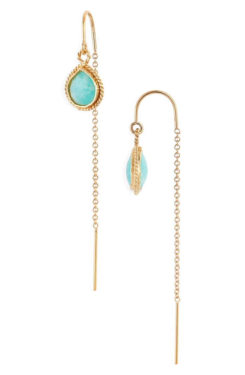 MEND Semiprecious Stone Threader Earrings, Main, color, GOLD/ LIGHT GREEN