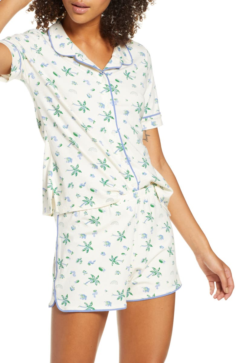 MADEWELL Palm Print Knit Bedtime Short Pajamas, Main, color, 900