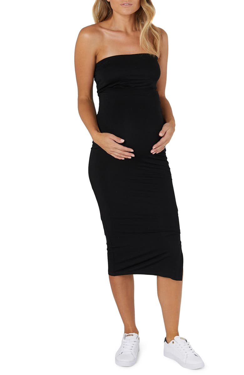 LEGOE. Margot Bandeau Midi Maternity/Nursing Dress, Main, color, BLACK