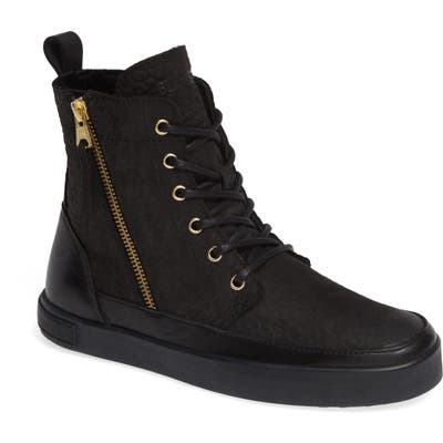 Blackstone Ql43 High Top Sneaker With Genuine Shearling Lining, Black