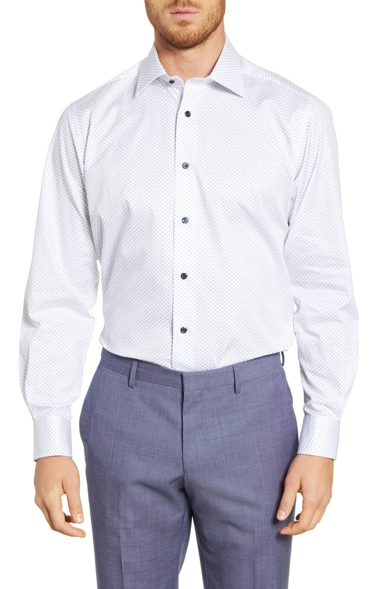 DAVID DONAHUE Regular Fit Geometric Dress Shirt, Main, color, WHITE/ NAVY