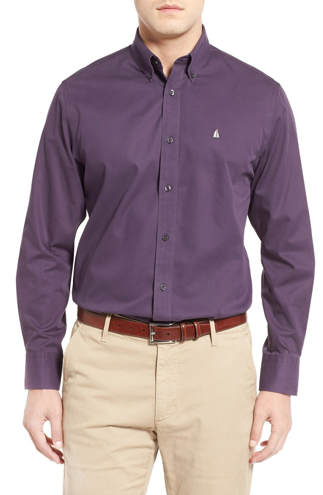 ,                             Smartcare<sup>™</sup> Traditional Fit Twill Boat Shirt,                             Main thumbnail 1, color,                             PURPLE NIGHT