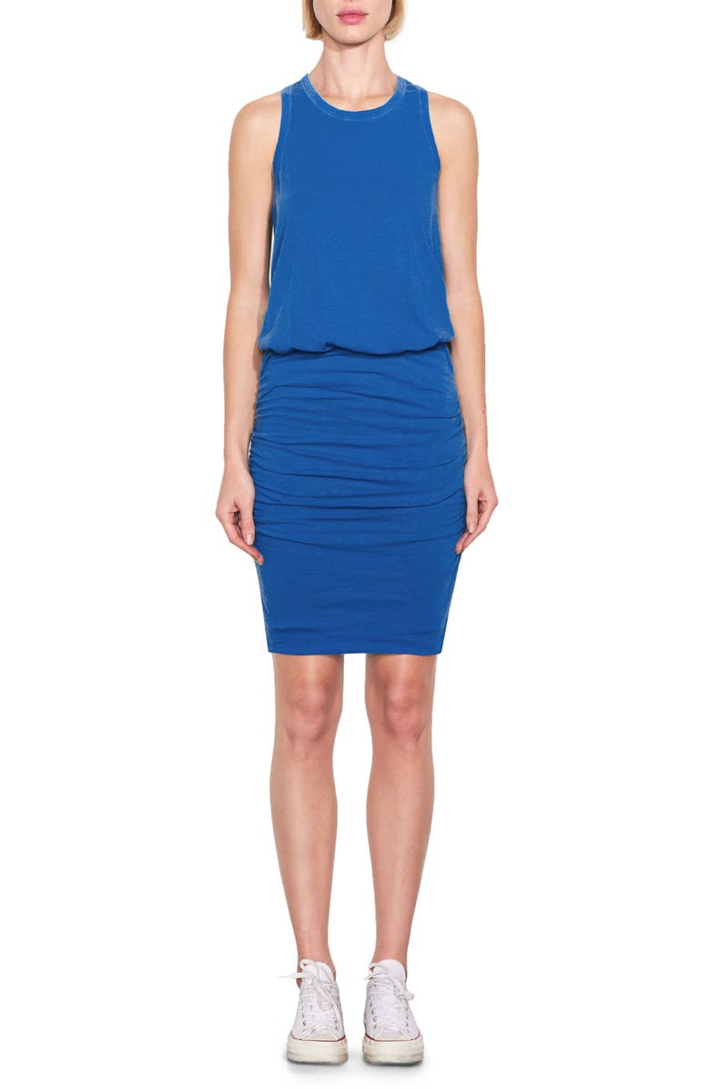 SUNDRY Ruched Racerback Tank Dress, Main, color, DUSTY INDIGO