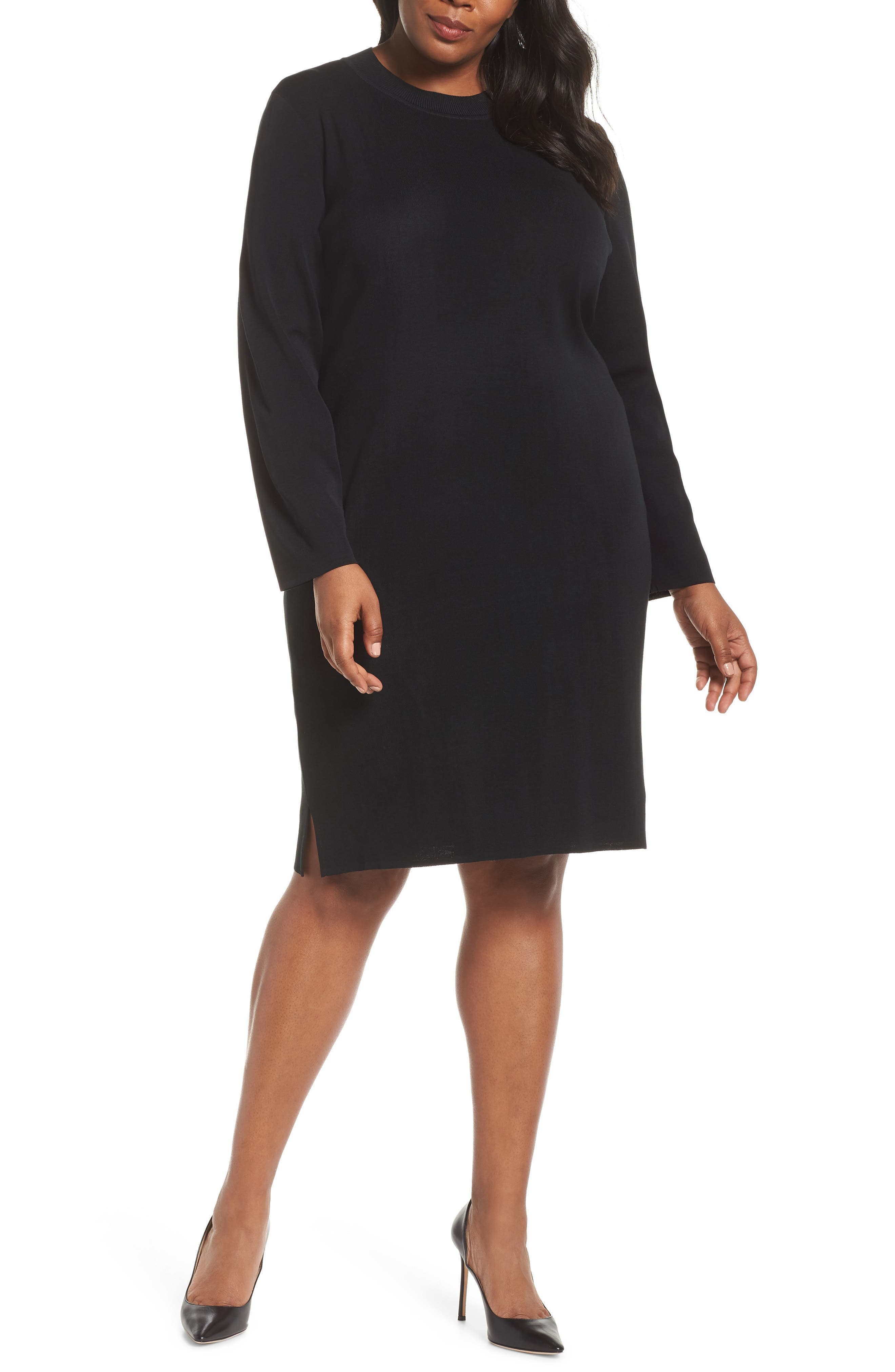 Plus Size Ming Wang Sweater Dress, Black