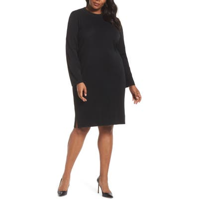 Plus Size Ming Wang Sweater Dress, Black