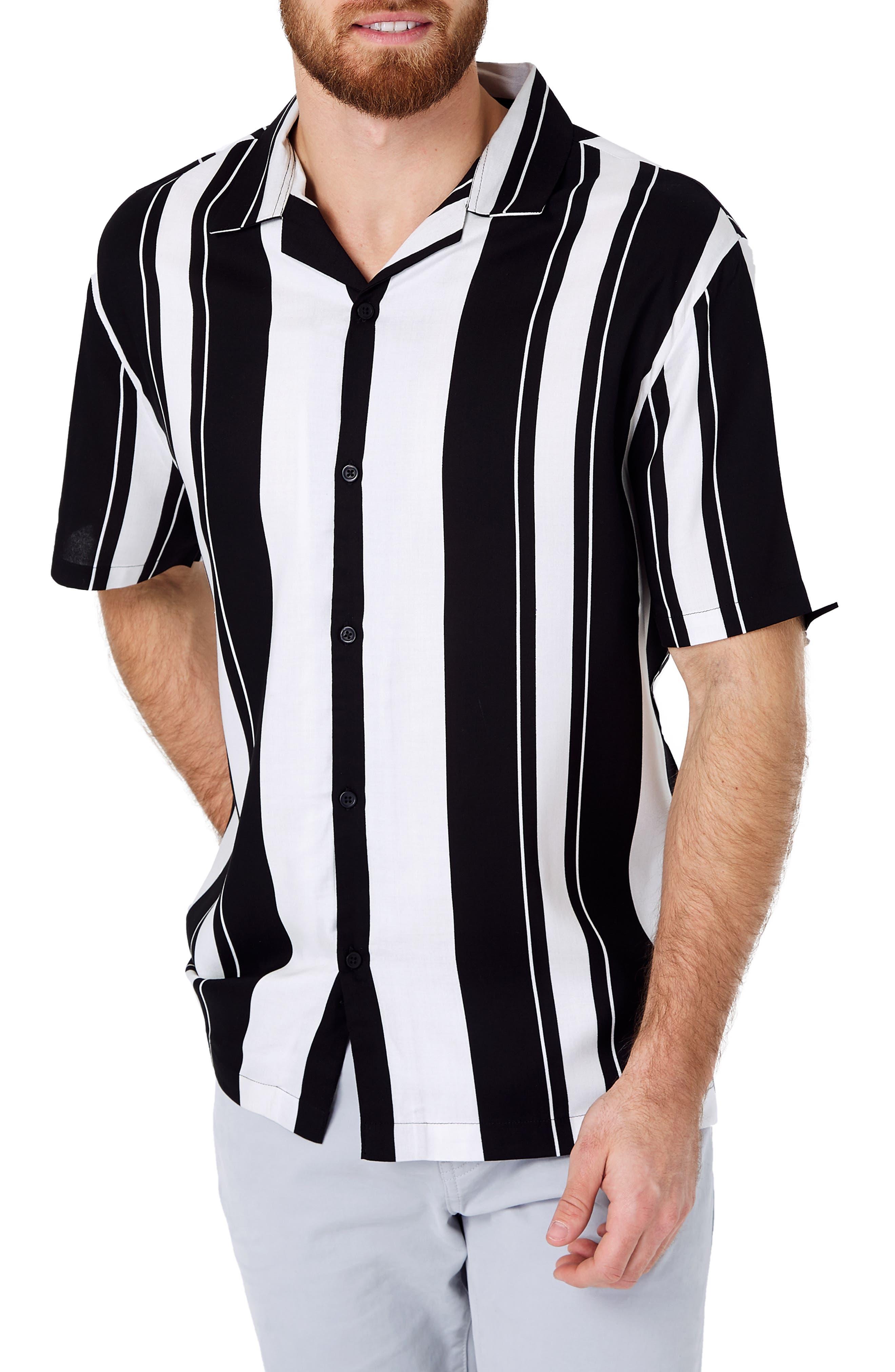 1950s Mens Shirts | Retro Bowling Shirts, Vintage Hawaiian Shirts Mens 7 Diamonds All Shook Up Slim Fit Stripe Camp Shirt Size X-Large - Black $69.00 AT vintagedancer.com