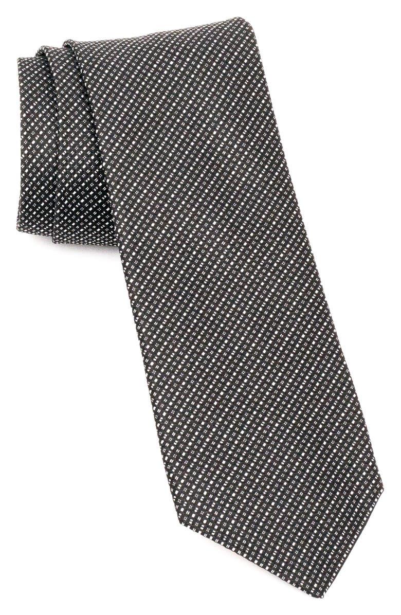 JOHN VARVATOS STAR USA Plaid Silk Tie, Main, color, BLACK