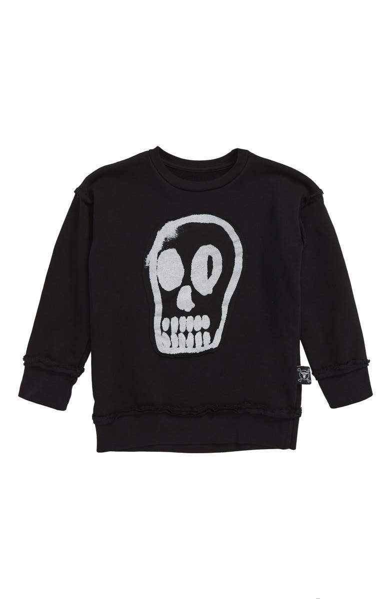 NUNUNU Dizzy Skull Sweatshirt, Main, color, 001