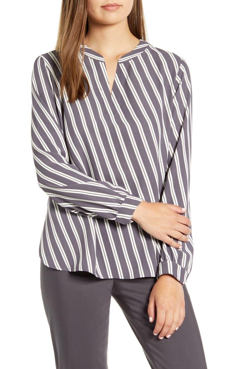 ANNE KLEIN Bias Stripe Split Neck Blouse, Main, color, NANTUCKET/ OYSTER SHELL COMBO