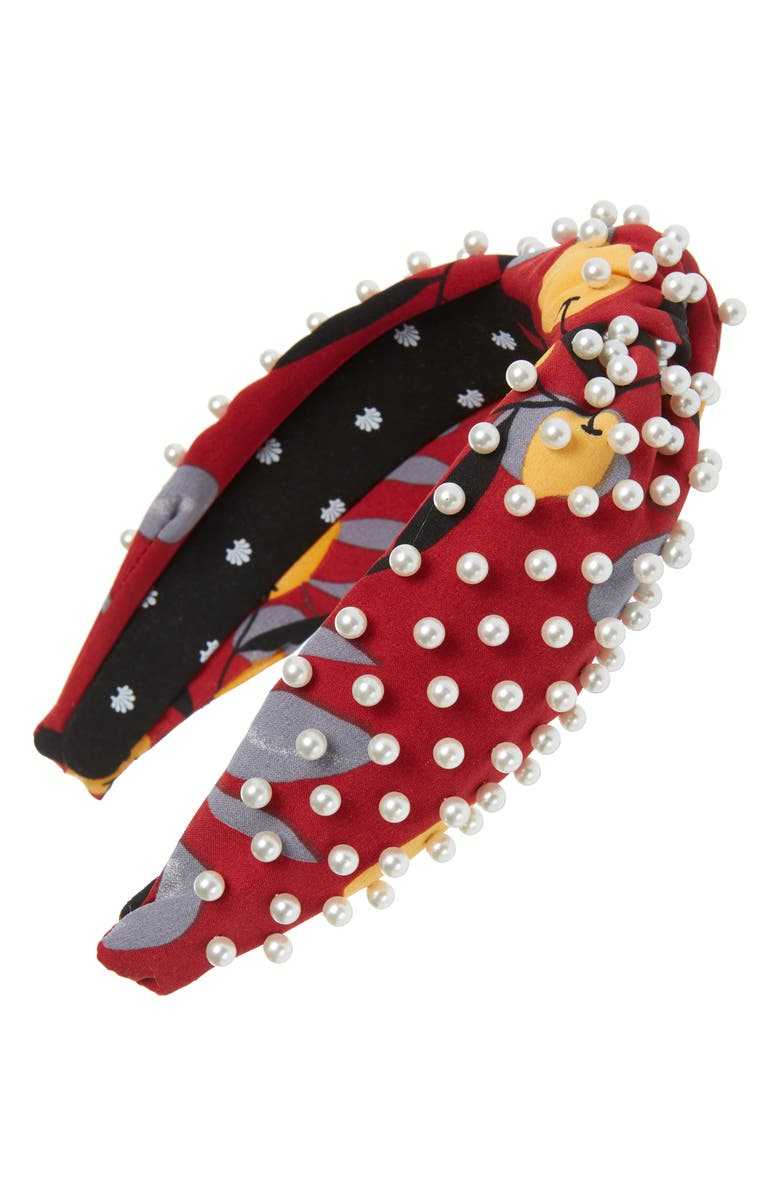 LELE SADOUGHI Pearly Floral Headband, Main, color, BURGUNDY LEMON