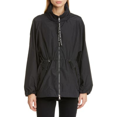 Moncler Cinch Waist Hooded Jacket, Black