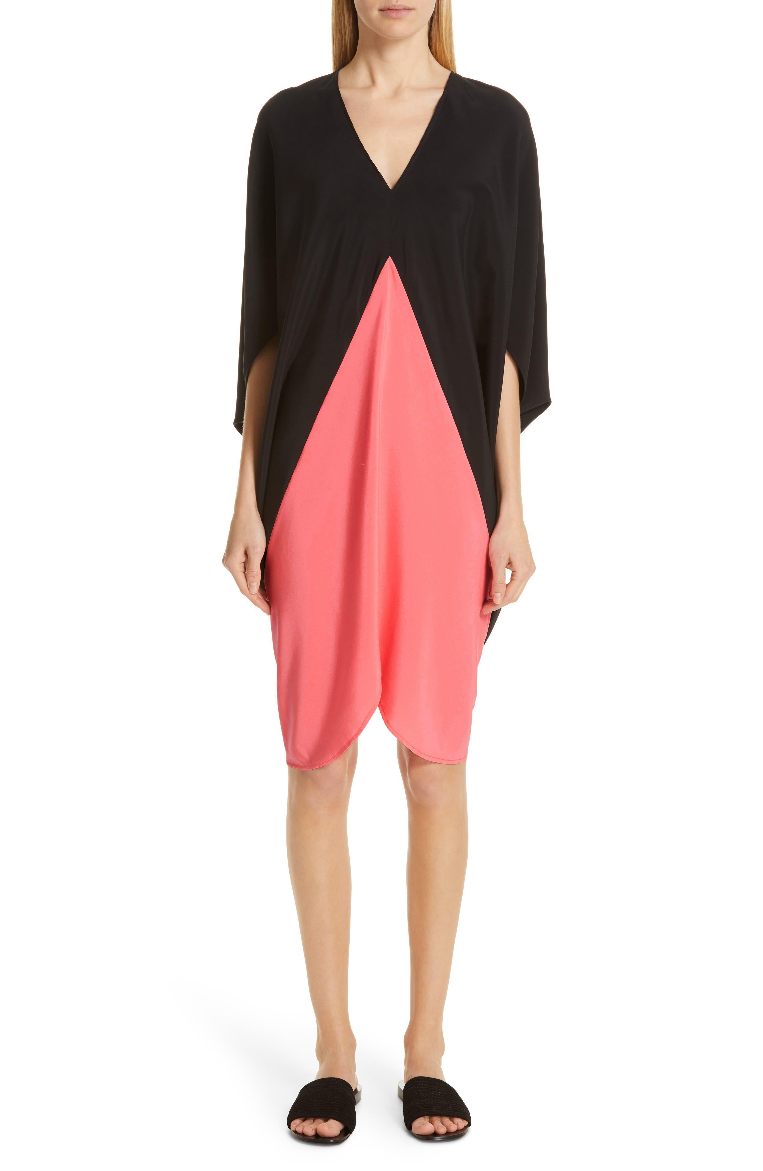 Koya Colorblock Stretch Silk Dress, Main, color, BLACK/ NEON ROSE