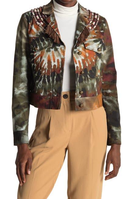 Image of Valentino Ricamato Beaded Tie-Dye Crop Jacket