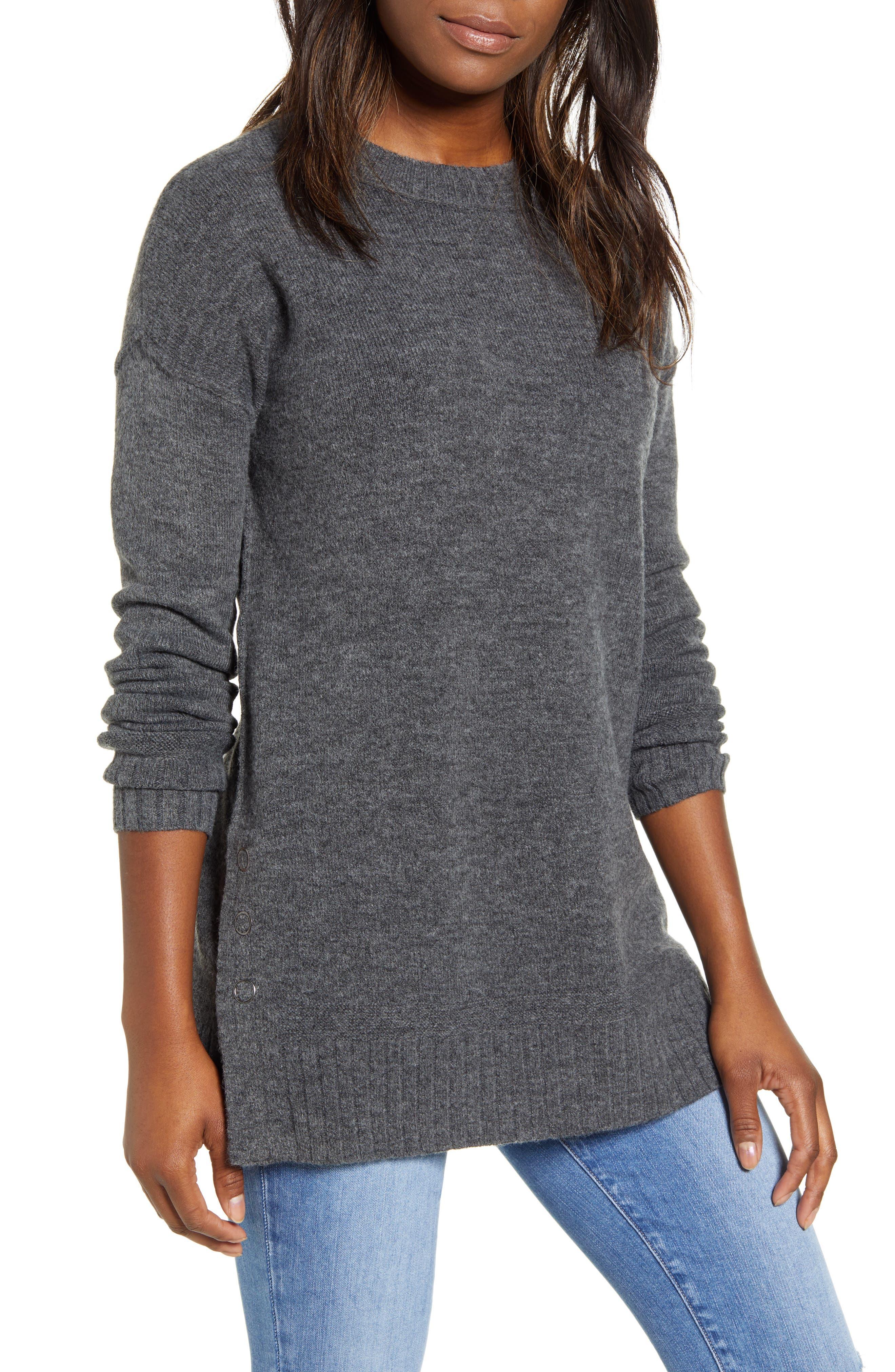 Caslon® Side Snap Tunic Sweater (Regular & Petite)