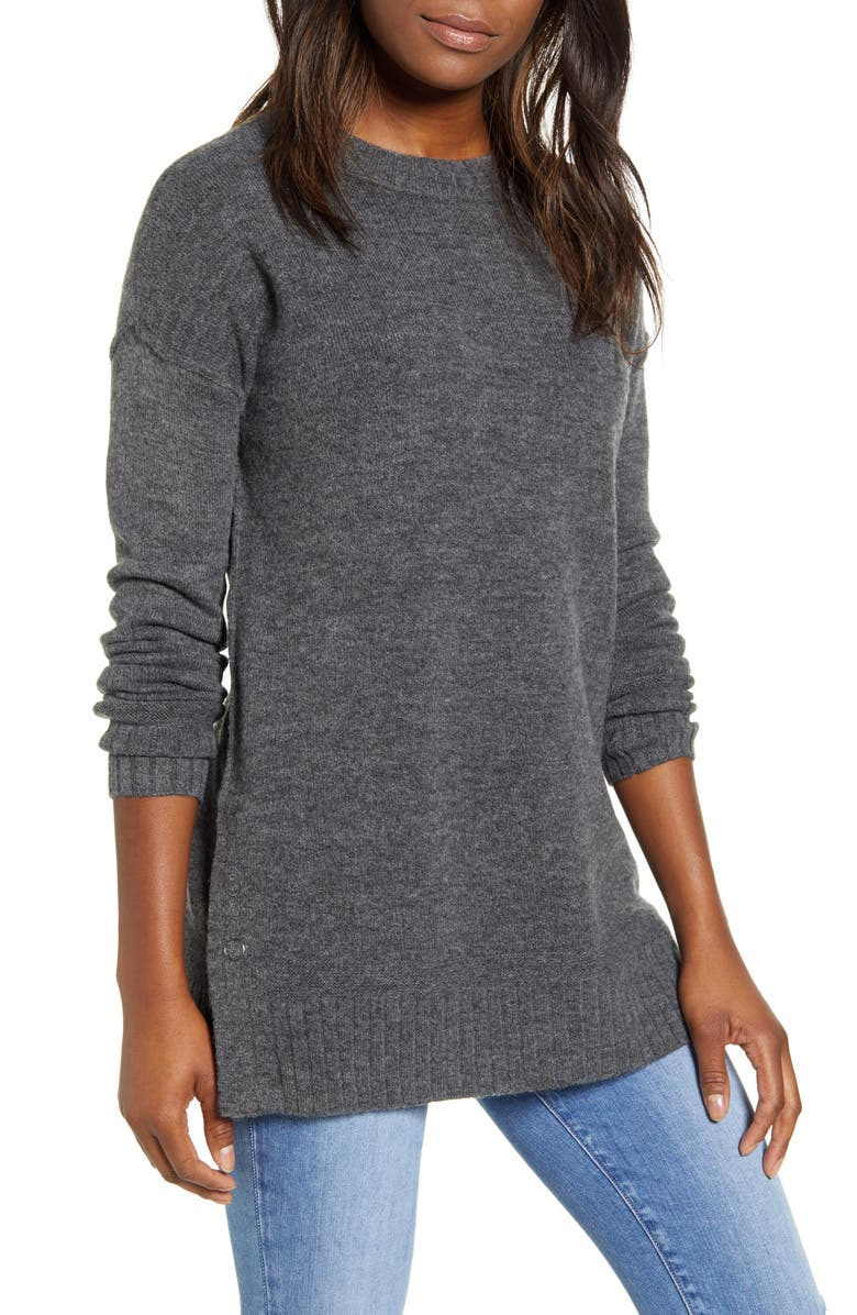 CASLON<SUP>®</SUP> Side Snap Tunic Sweater, Main, color, GREY MED CHARCOAL HEATHER