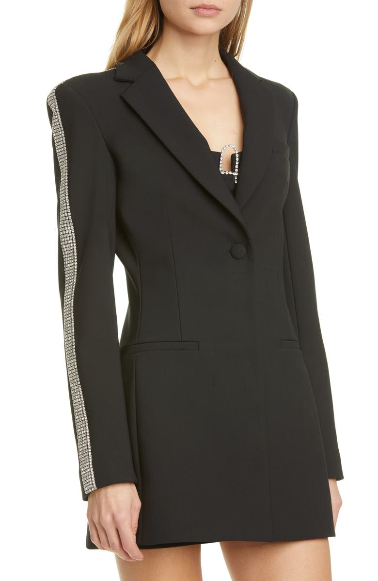 AREA Crystal Stripe Long Sleeve Blazer Minidress, Main, color, BLACK