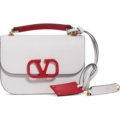 Valentino Garavani Small Vlock Chain Calfskin Shoulder Bag - White