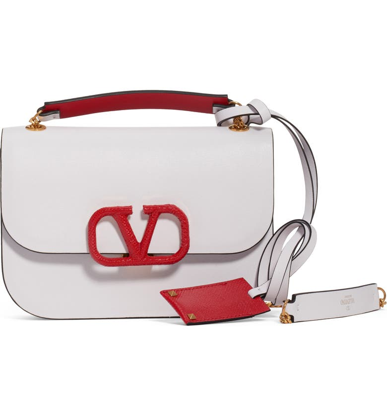 VALENTINO GARAVANI Small VLock Chain Calfskin Shoulder Bag, Main, color, BIANCO OTTICO/ ROUGE PUR