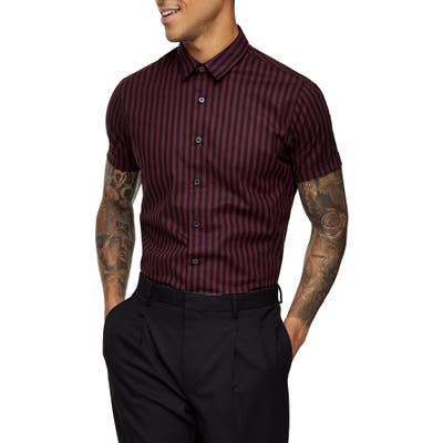 Topman Slim Fit Stripe Short Sleeve Button-Up Shirt, Burgundy