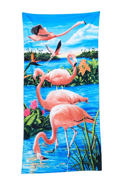 Image of Apollo Towels Flamingo & Lake Beach Towel - Multi