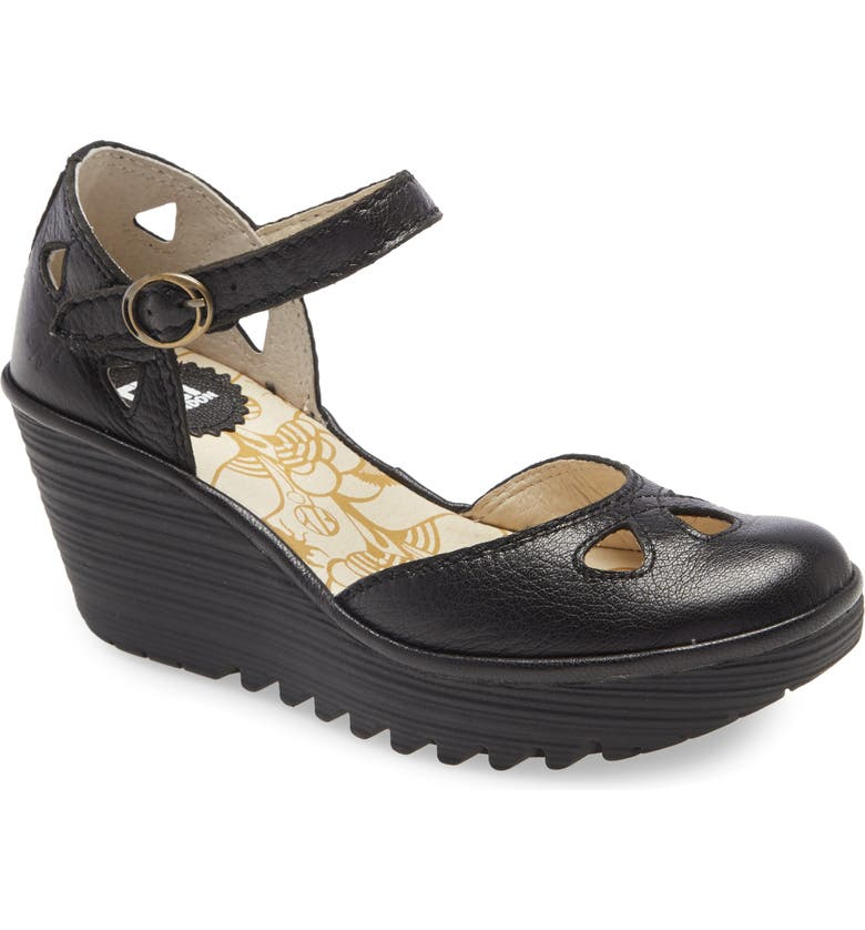 FLY LONDON Yuna Wedge Pump, Main, color, BLACK MOUSSE LEATHER