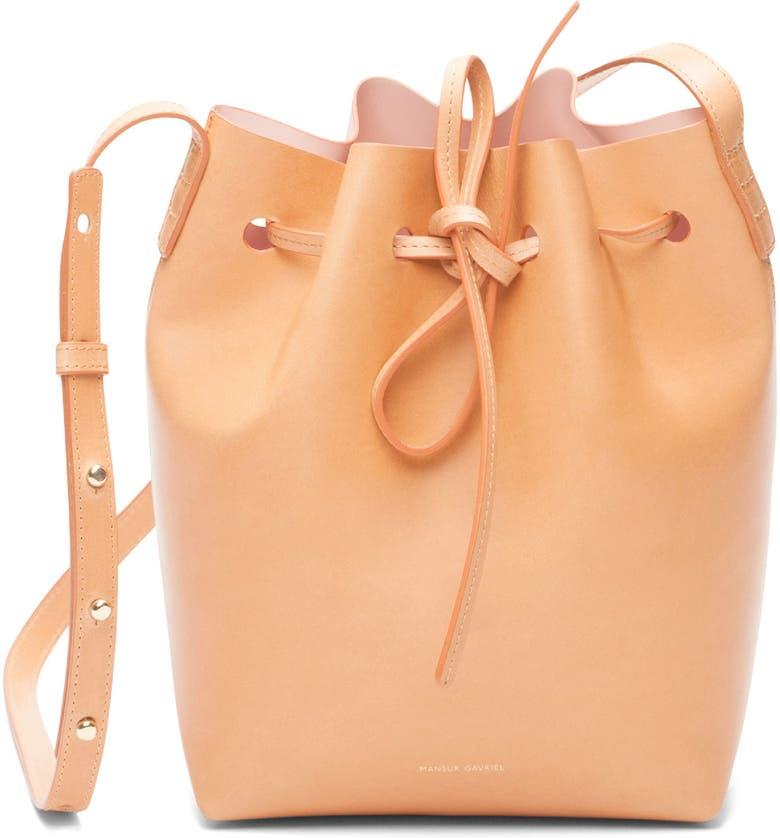 MANSUR GAVRIEL Mini Leather Bucket Bag, Main, color, CAMMELLO/ ROSA