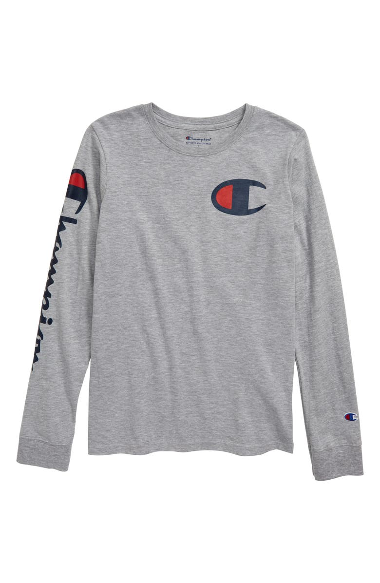CHAMPION Script Long Sleeve Logo T-Shirt, Main, color, 050